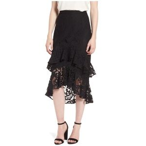 Chelsea28 Black Tiered Lace Midi Skirt